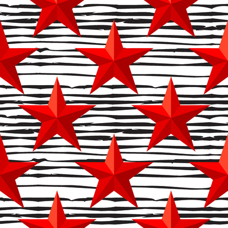 Red stars seamless pattern. Soviet stars isolated on black hand drawn lines texture background. 23 February. The Day of Defender of the Fatherland. Vector illustration Ilustração Vetorial