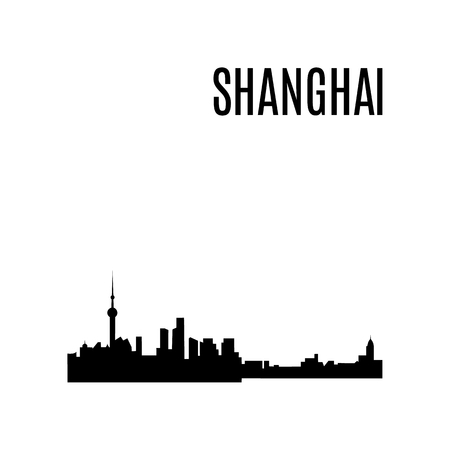 Vector Shanghai City skyline silhouette typographic design panorama. China landmark, architecture. Famous Skyscrapers: Jin Mao Tower, Shanghai World Financial Center, Oriental Pearl Tower, Shanghai Tower