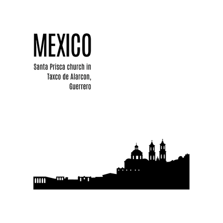 Taxco City skyline black silhouette modern typographic design. Mexico landmark vector illustration. View of Santa Prisca church in Taxco de Alarcon, Guerrero, Mexico. Architecture of Mexican city Çizim