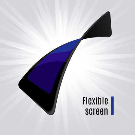 flexible: Gadget flexible screen. Mobile phone electronic visual display. Vector illustration
