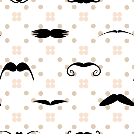 Mustache polka dot seamless pattern. Hipster endless texture. Vector illustration Illustration