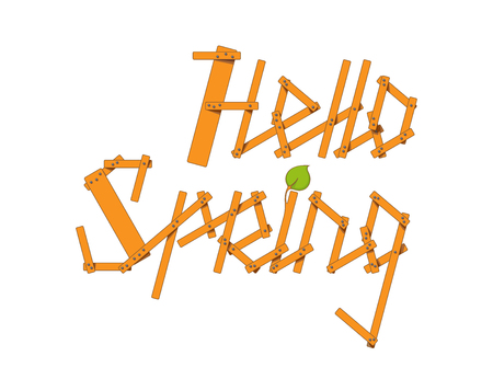 sprig: Hello Spring lettering from small planks and young branches isolated on white background. Vector illustration Illustration