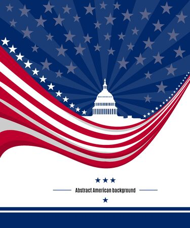 Patriotic American background with abstract USA flag and White house and Capitol building Washington DC symbol. Vector illustration Stok Fotoğraf - 71997622