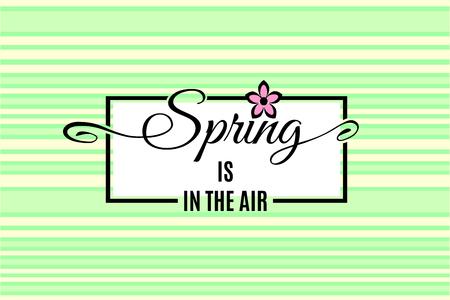 De lente is in de lucht het van letters voorzien op lichte tedere groen gestreepte achtergrond. Vector illustratie