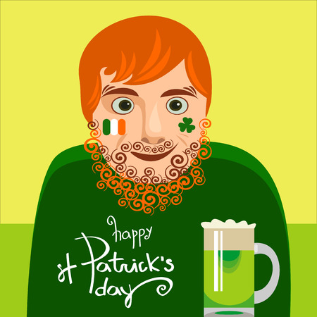 Typographic St Patricks Day card or poster with lettering. Funny redhead modern Irishman drinking. Vector illustration