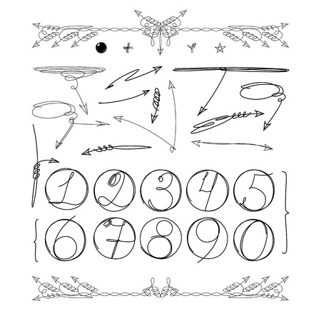 Doodle numbers in circle and other graphic elements for your infographic design. Hand drawn info objects isolated on white background. Vector illustration Illustration