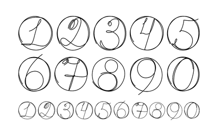 Doodle numbers in circle set for your infographic design. Hand drawn number icons isolated on white background. Vector illustration