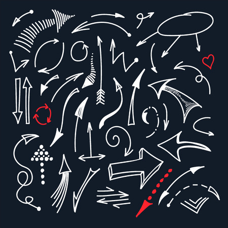 directory: Hand drawn white line arrow icons isolated on black background set. Different doodle arrow signs collection. Vector illustration