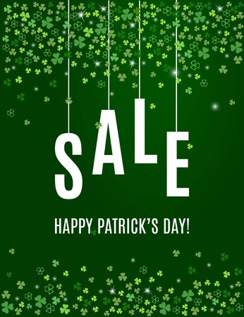 Patricks day sale banner template with shamrock leaves on dark green background. Shop market vertical poster for your holiday design. Vector illustration Stock Photo
