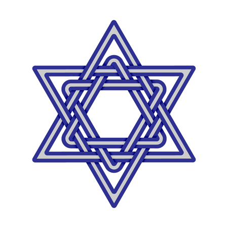 Star of David weaved icon. Israel symbol isolated on white background. Jewish sacred symbol. Vector illustration Illustration