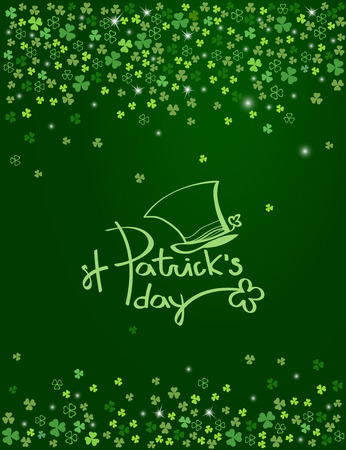 Happy St. Patricks day lettering logo with Leprechaun hat on sparkling dark green clover shamrock leaves background. Abstract Irish holiday backdrop for greeting cards design. Vector illustration