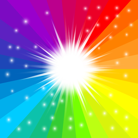 Abstract rainbow radial background. Glitter star effect decoration with ray sparkles for your design. Vector illustration