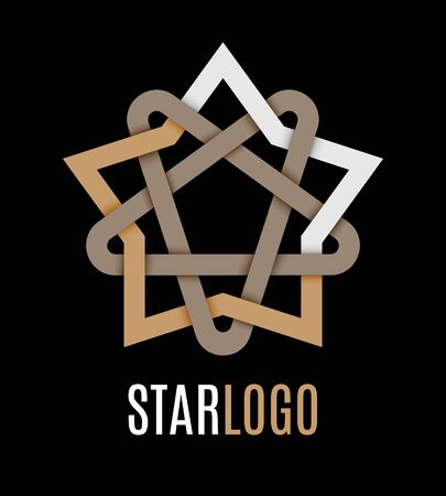 celtic background: Star icon logo. Oriental and celtic star knots or abstract geometry design elements isolated on black background. Vector illustration