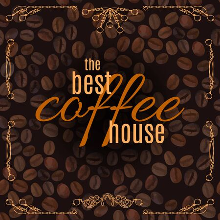 Coffee House lettering with doodle line vintage frame on coffee beans pattern background. Vector illustration