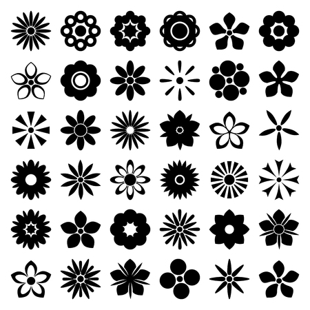 Flower icons set. Flower silhouettes isolated on white background collection. Retro design elements for stickers, labels, tags, gift wrapping paper. Vector illustration