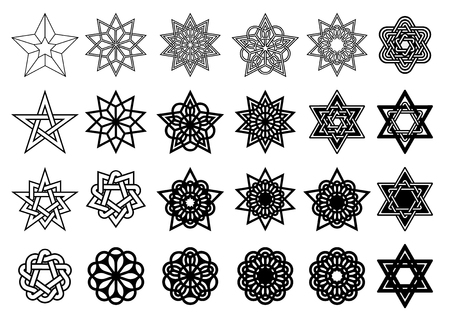 Set of abstract graphic elements for yuor design. Black stars and circles isolated o white background. Vector illustration Illustration