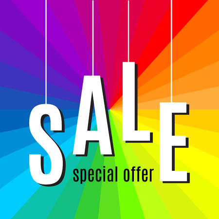 Sale lettering banner template on rainbow background. Vector illustration Illustration