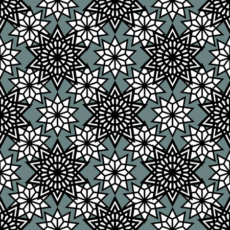 celtic background: Abstract stars seamless pattern. Monochrome line geometry background. Vector illustration Illustration