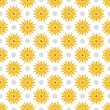 Summer polka dot seamless pattern with yellow flowers.  Abstract floral background. Vector illustration