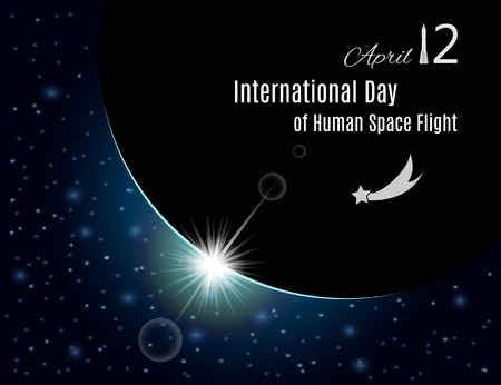 International day of human space flight banner or poster for your design.