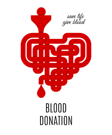 Blood donation concept for print or poster with red celtic knotted heart isolated on white background. Blood donor day. Save life give blood banner. Vector illustration Illustration