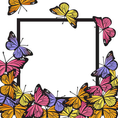Greeting card with hand drawn butterflies and black simple frame on white background. Vector illustration for Happy Birthday, Mother's day, wedding or Hello Summer design Vectores