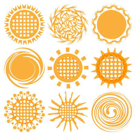 Sun icons isolated on white background set. Flat yellow sunlight symbols. Elements for Solar logo design. Knotted celtic sun collection. Vector illustration