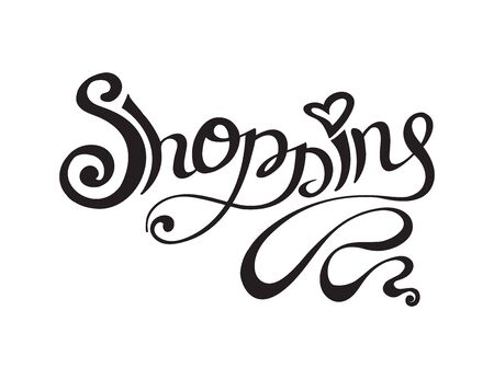 mujer en el supermercado: Hand drawn shopping lettering isolated on white background. Vector illustration Vectores