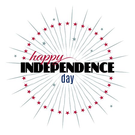 Happy Independence day lettering template on white background with stars and grunge sunburst for your holiday design. Modern greeting card. Vector illustration
