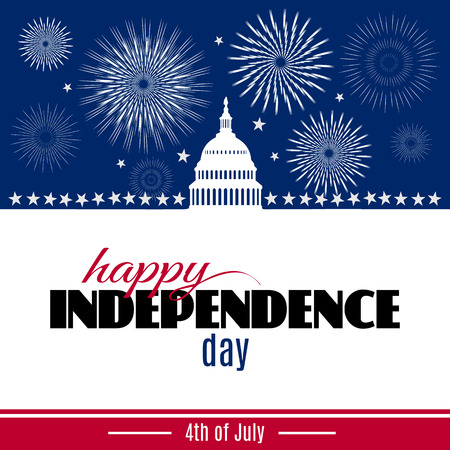 Happy Independence day greeting card. Patriotic American background with White house and Capitol building Washington DC symbol with fireworks. Vector illustration