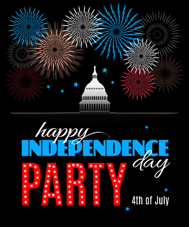 Happy Independence day party poster. Patriotic American background with White house and Capitol building Washington DC symbol with fireworks. Vector illustration Illustration