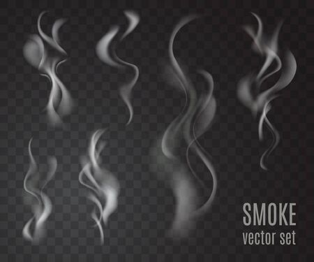 Realistic transparent smoke set.