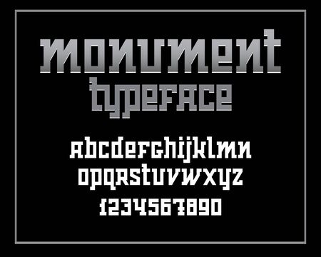 Heavy serif typeface. Monument font isolated on black background. Vector illustration
