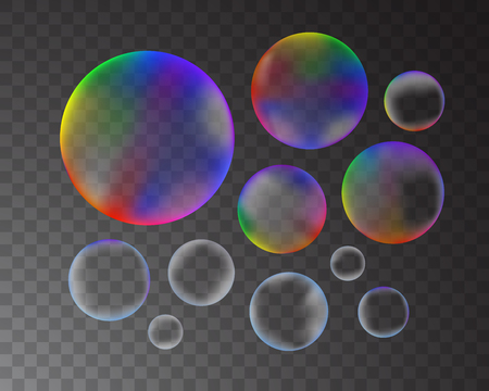 Soap bubbles isolated on transparent background set. Vector illustration