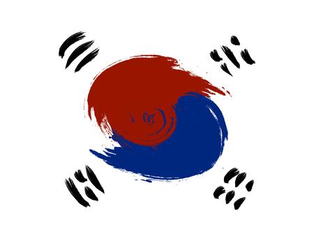 Bandera de Corea del sur Grunge. República de Corea. Ilustración vectorial