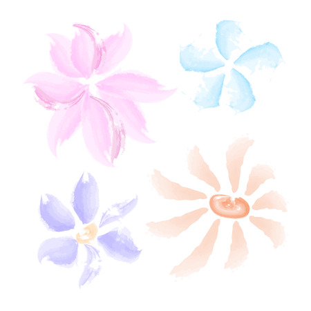 Watercolor flowers set isolated on white background. Vector illustration