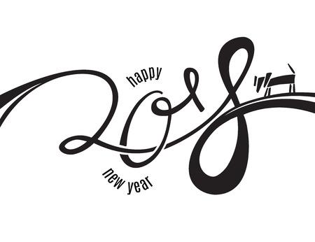 2018 Nieuwjaar lettering met inkt doodle hond geïsoleerd op wit