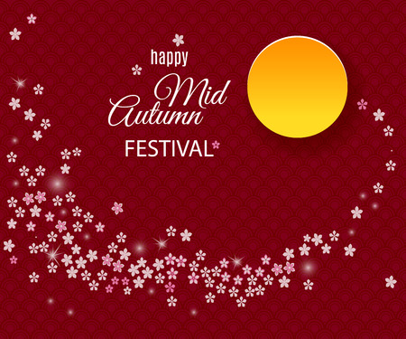 Happy Mid Autumn Festival background with moon and sakura tree flower stream. Vector illustration for chinese holiday design Reklamní fotografie - 84142067