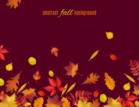 Autumn leaves isolated on brown background. Abstract fall background for your greeting cards design or website. Vector illustration Ilustração