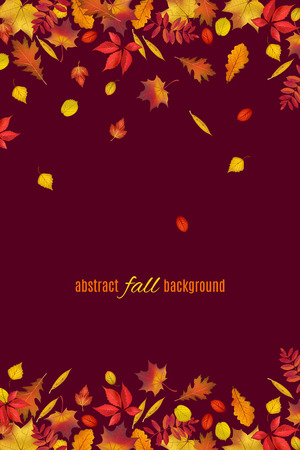 Autumn leaves border isolated on dark brown background. Abstract fall background for your greeting cards design or website. Vector illustration