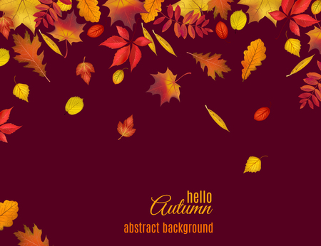Autumn leaves isolated on dark brown background. Abstract hello Autumn background for your greeting cards design or website. Vector illustration Ilustração