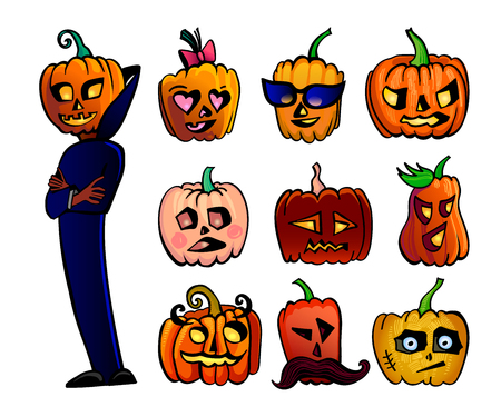 traje mexicano: Halloween cute cartoon Pumpkins set. Vector illustration of Halloween character in dark blue cape and 9 different heads isolated on white background Vectores