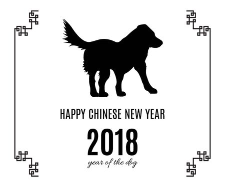 Happy Chinese New Year 2018 Greeting Card Or Poster Of The Dog Black Symbol