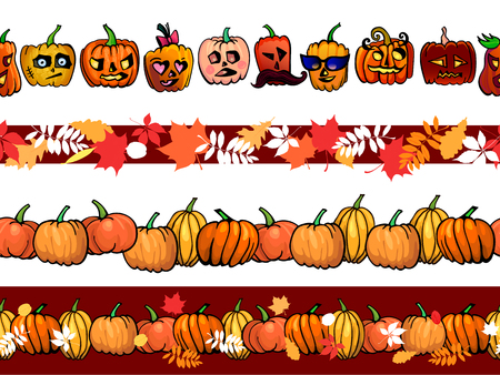 Abstract autumn frame seamless pattern border template with pumpkins and fall leaves set. Vector ilustration for autumn holidays: Halloween, thanksgiving day and Harvest Festival