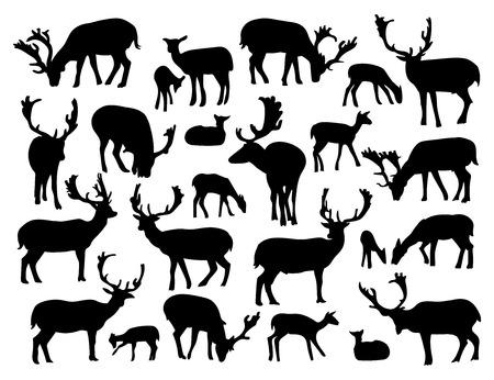 Noble deer silhouettes set