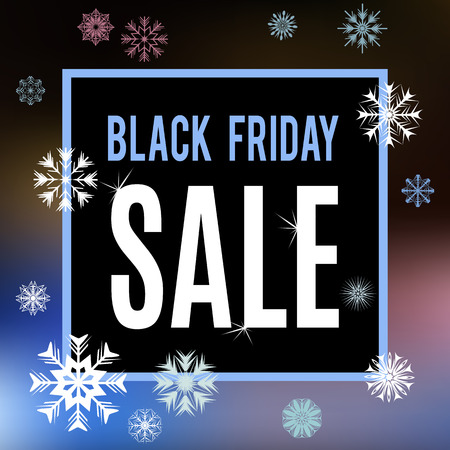 Black Friday sale inscription banner. Abstract blurry meshed background with snowflakes on simple line frame. Vector illustration