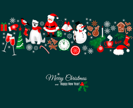 Merry Christmas and Happy New Year greeting card in retro style with winter design elements border pattern on dark background. Vettoriali