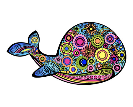 Bright ornamental whale pattern.