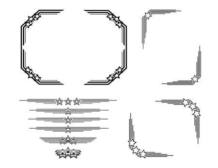 Retro frames and decor elements set with stars. Illustration
