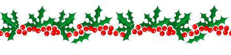 Frontera inconsútil del modelo del acebo de la Feliz Navidad y de la Feliz Año Nuevo aislada en el fondo blanco para su diseño de la decoración del día de fiesta. Ilustración vectorial Ilustración de vector